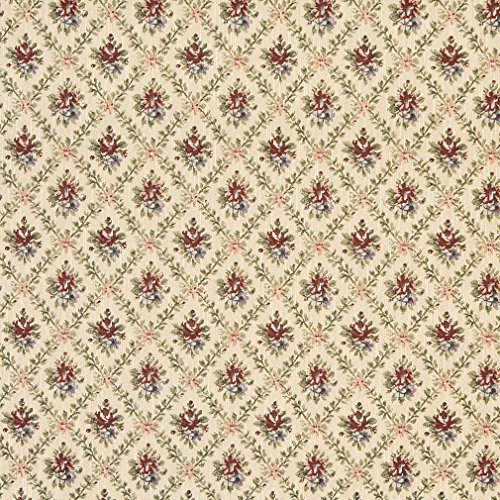 F920 Gold Burgundy And Green Floral Diamond Tapestry Upholstery Fabric By The Yard