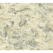 York Wallcoverings NY4837 Nautical Living Coastal Map Wallpaper, Cream/Ecru/Marine Blue