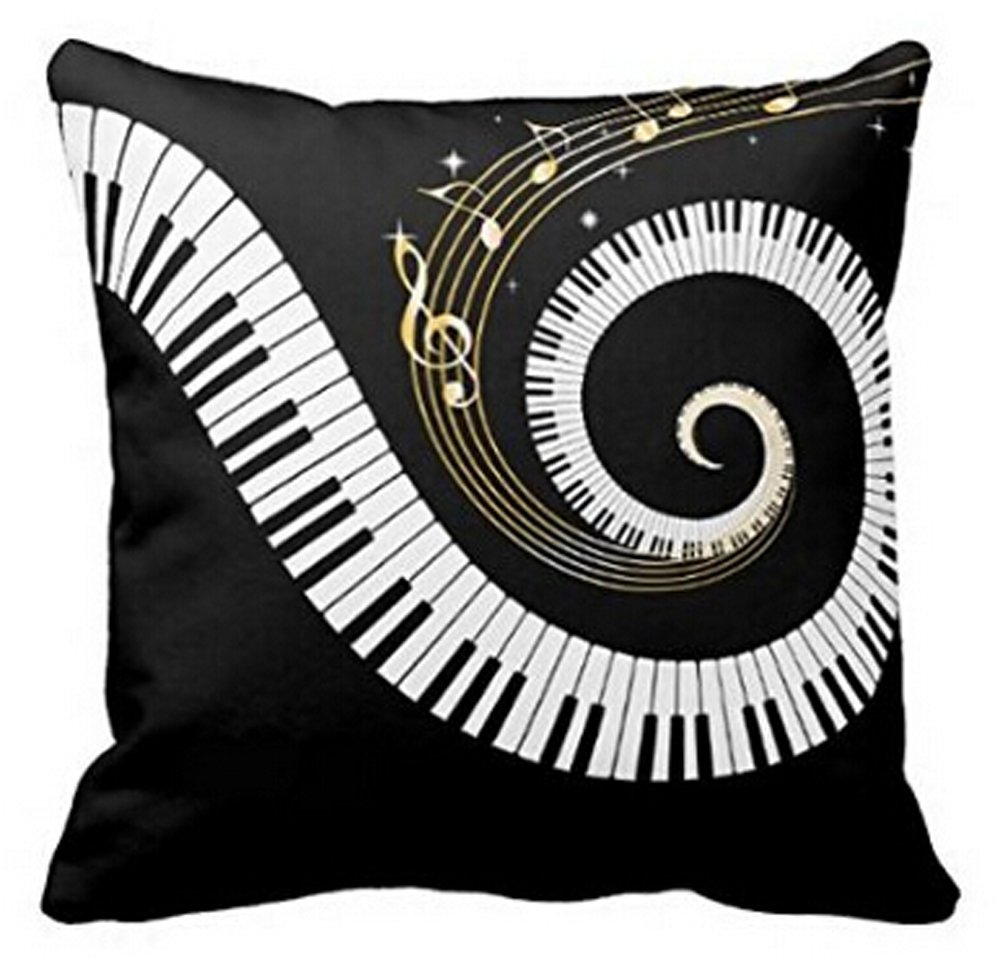 Music Theme Piano Cotton Linen Throw Pillow Case Cushion Cover Home Office Decorative Square 18 X 18 Inches Andreannie COMIN16JU046022