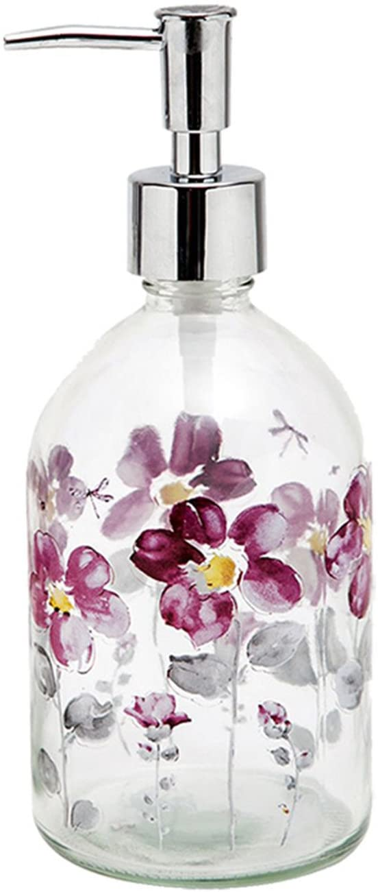 Topadorn 17oz Flower Glass Soap Dispenser Bottle with Plastic Pump