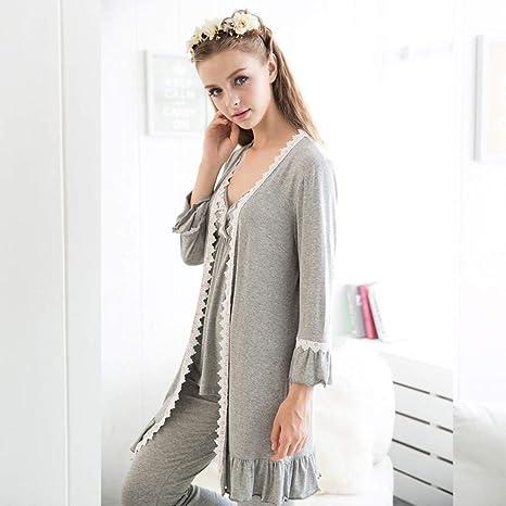YTNGA Pijamas De Mujer Pijamas de algodón para Mujeres Juegos Tres ...