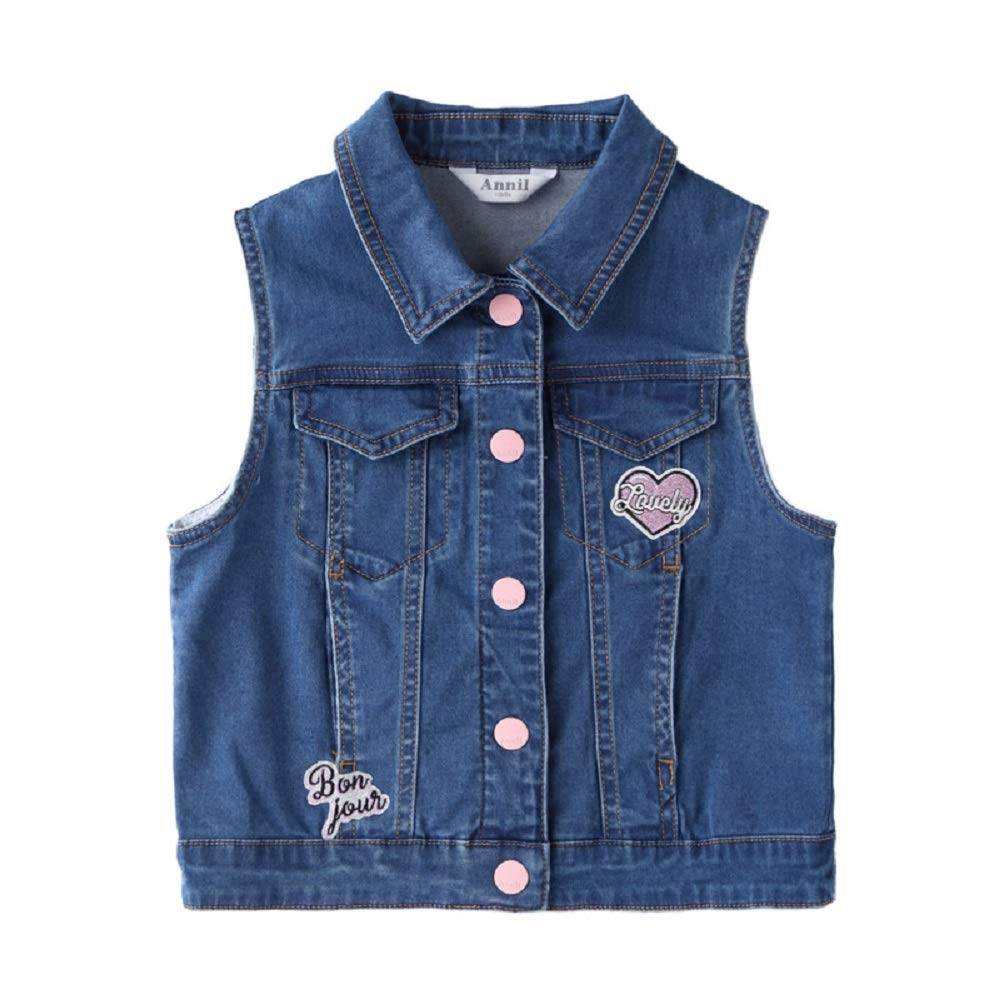 Annil Girls Denim Vest Kid's Gilet for 2 to 14 Years 100% Cotton (110) by Annil