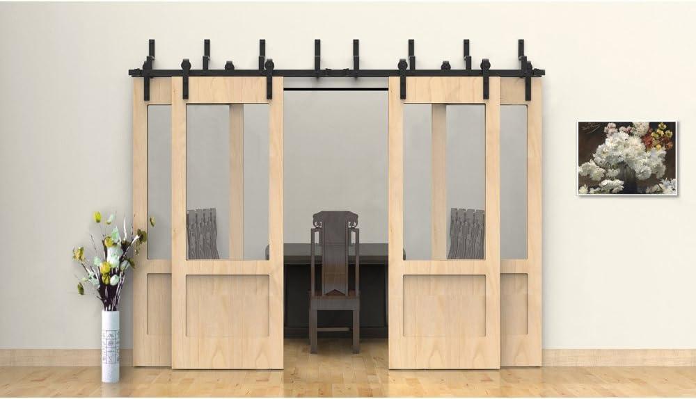 winsoon moderno muebles Prime antiguo completo doble rodillo de metal deslizante de granero puerta Hardware Track Rail para colgar 4 puertas kit: Amazon.es: Bricolaje y herramientas