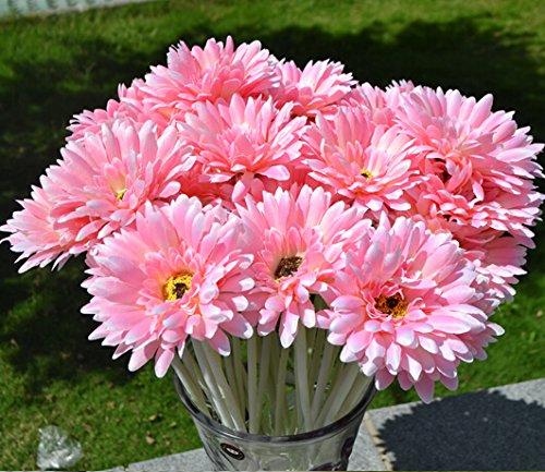 10 PCS Real Touch Latex Silk Artificial fake plastic Daisy Chrysanthemum Flowers Sun Chrysanthemum,Sunflower, Simulation Gerber, Dimorphotheca,Party Room home Decoration DIY Flower Bouquet (pink)