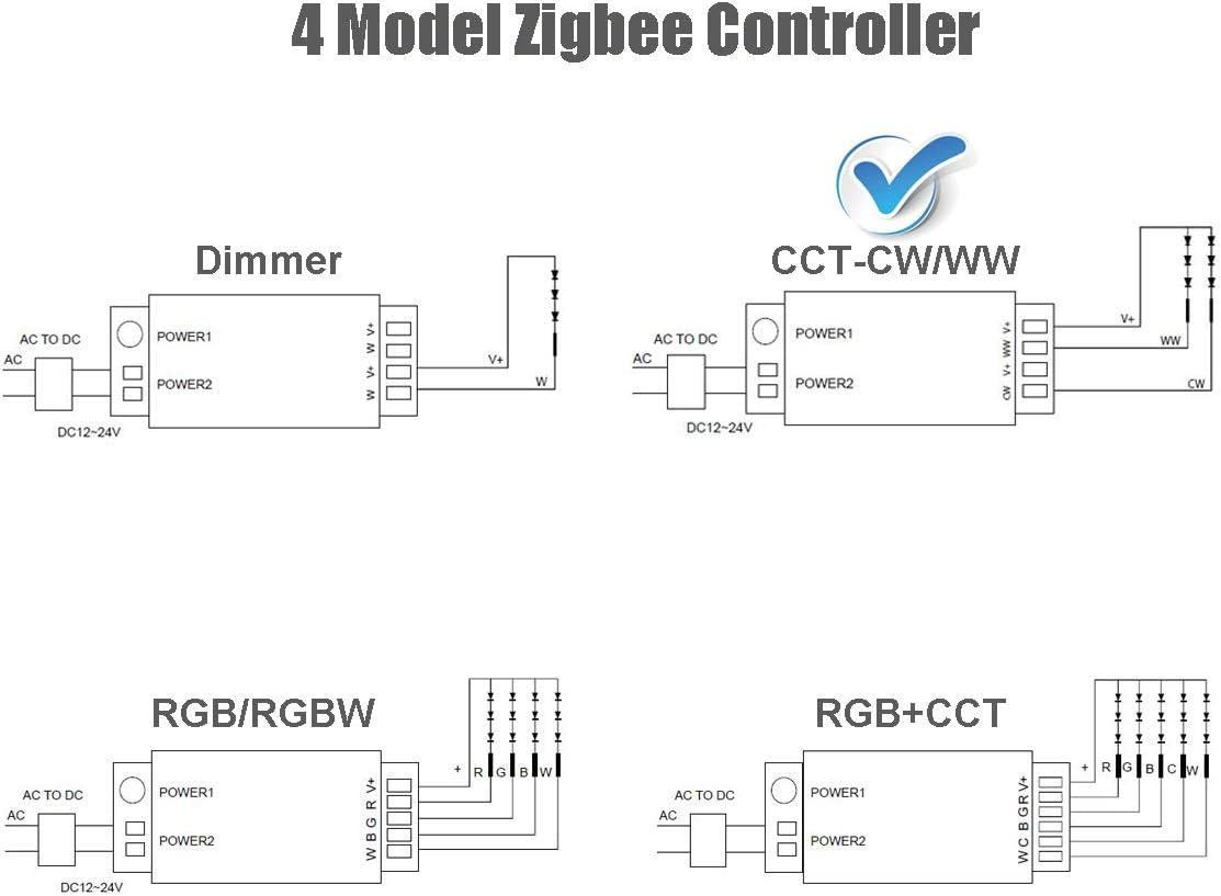 Echo Plus CCT Control Remoto de ZigBee Light Link Adaptador para 12-24V fr/ío blanco c/álido Strip Lightify ZigBee Tira de LED Controlador de interruptor de luz Philips Hue Bridge