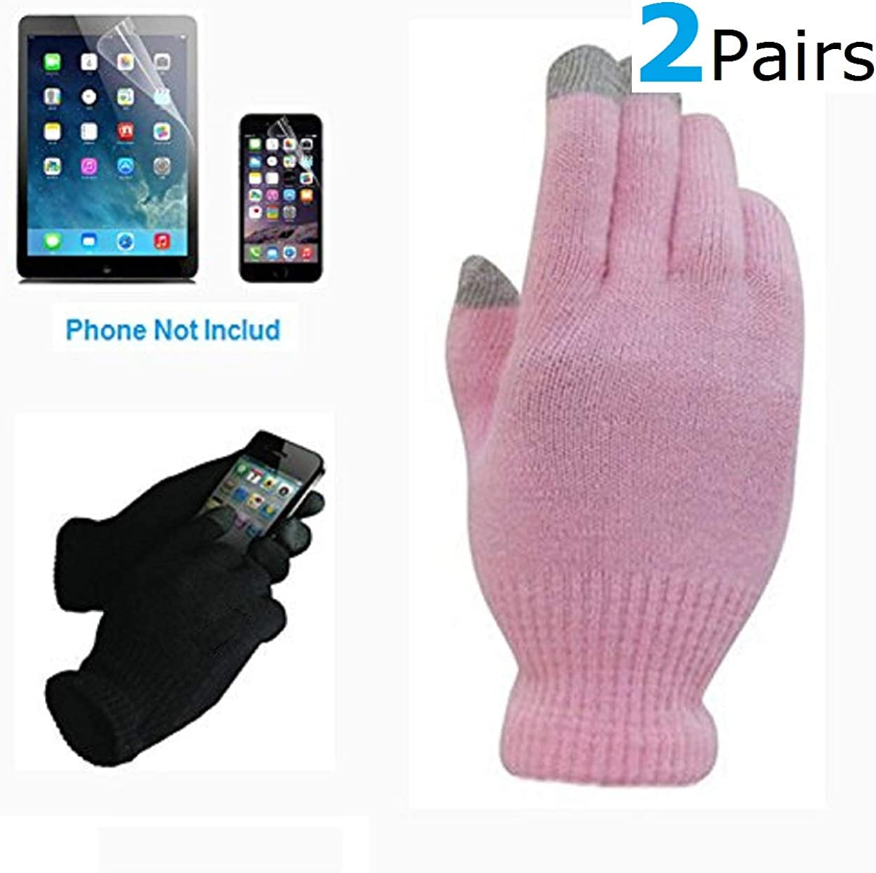 2 Pair Of Pink Touch Screen Gloves