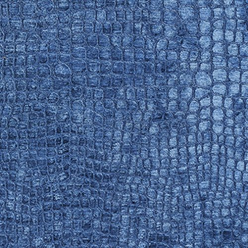 (A0151S Blue Textured Alligator Shiny Woven Velvet Contemporary Upholstery Fabric by The Yard)