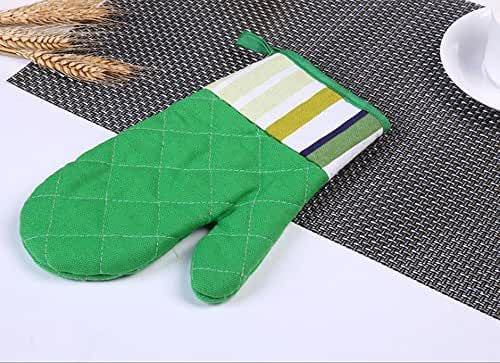 Boying Grid Pure Cross Cotton Thickening Microwave Oven Gloves High Temperature Heat Insulation Gloves (2 gloves)