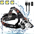 Neraon Brightest 3 Cree T6 LED Headlamp, 6000 Lumens Zoomable LED Headlamp, 3 Light 4 Mode USB Rechargeable 18650 battery (4 Charging ways), Waterproof Head Light for Outdoor Running, Camping, Hiking.