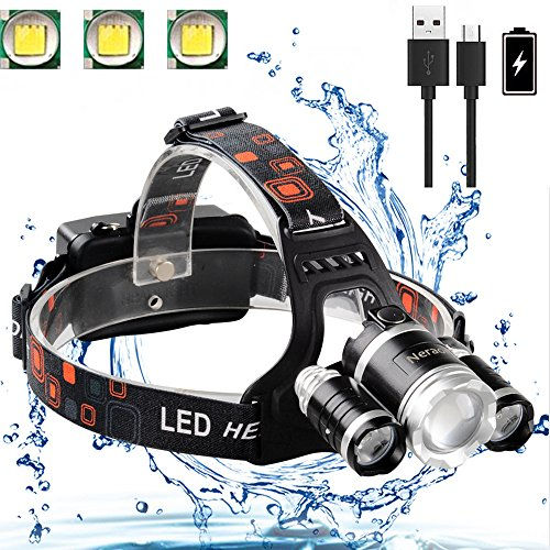 Neraon LED Headlamp 6000 Lumens, Zoomable 4 Modes LED Headlight USB Rechargeable, Waterproof Headlamp for Running Hiking Camping