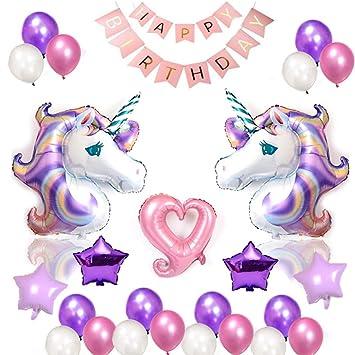 Amycute 38 PCS Globos Unicornio Cumpleaños, Decoración ...