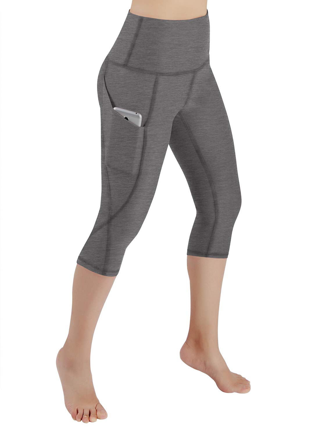ODODOS High Waist Out Pocket Yoga Capris Pants Tummy Control Workout Running 4 Way Stretch Yoga Leggings,Gray,X-Small