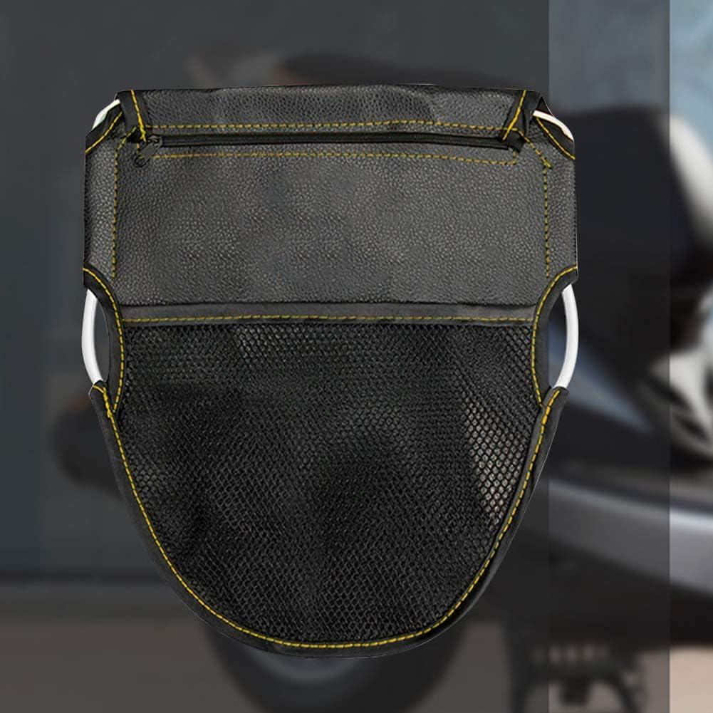 Zipper Closure PU Leather Seat Back Saddle with Mesh Pocket Black Carry Bag Motorcycle Bike Tank Bag Buyfunny01 Motorcycle Seat Bag