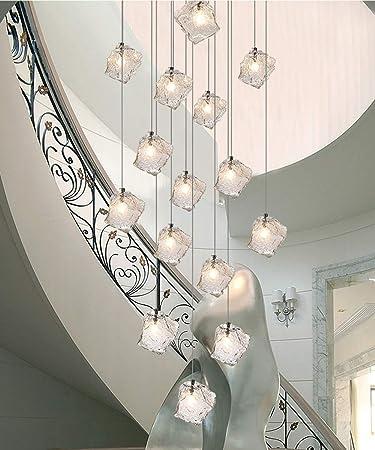 Lámpara de araña creativa simple de 60x200 cm for techo alto Escalera minimalista moderna Lámpara de
