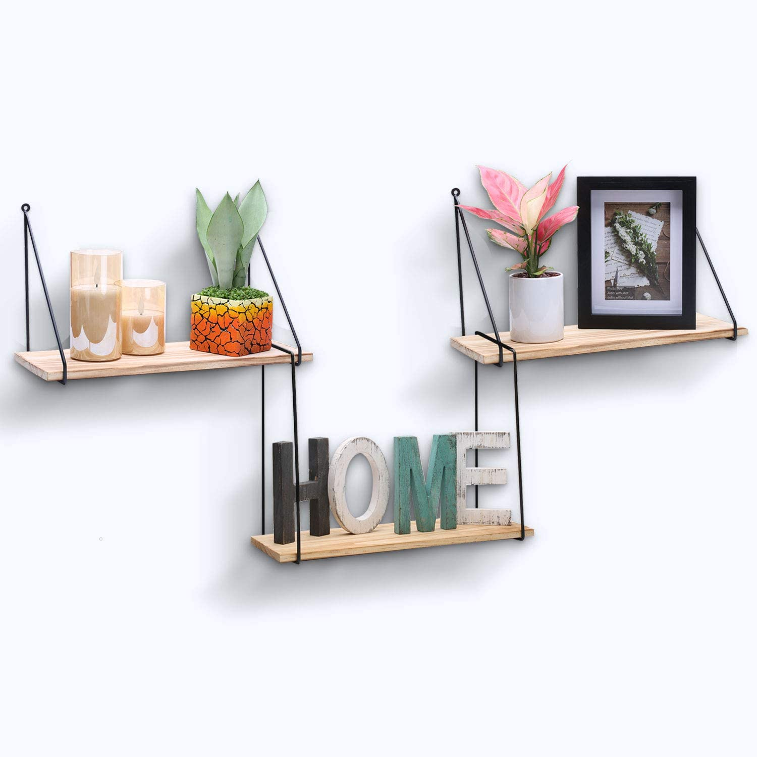 PR PeakRous Wooden Shelves for Wall, Floating Shelves for Storage Set of 3 Decorative Rustic Wall Mounted Small Shelves for Bedroom Living Room Kitchen Bathroom Matte Metal Wires Holder