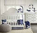 Wendy Bellissimo 4pc Nursery Bedding Baby Crib Bedding Set - Whale Crib bedding from the Landon Collection in Navy and Grey
