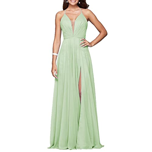 YORFORMALS Womens Deep V-Neck Chiffon Evening Prom Dress Long Formal Ball Gown Side Slit