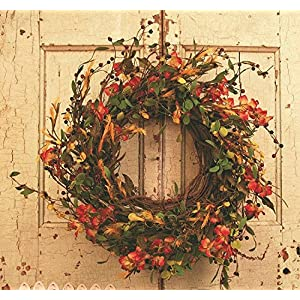 Bar Harbor Silk Fall Berry Door Wreath 18 inch 70
