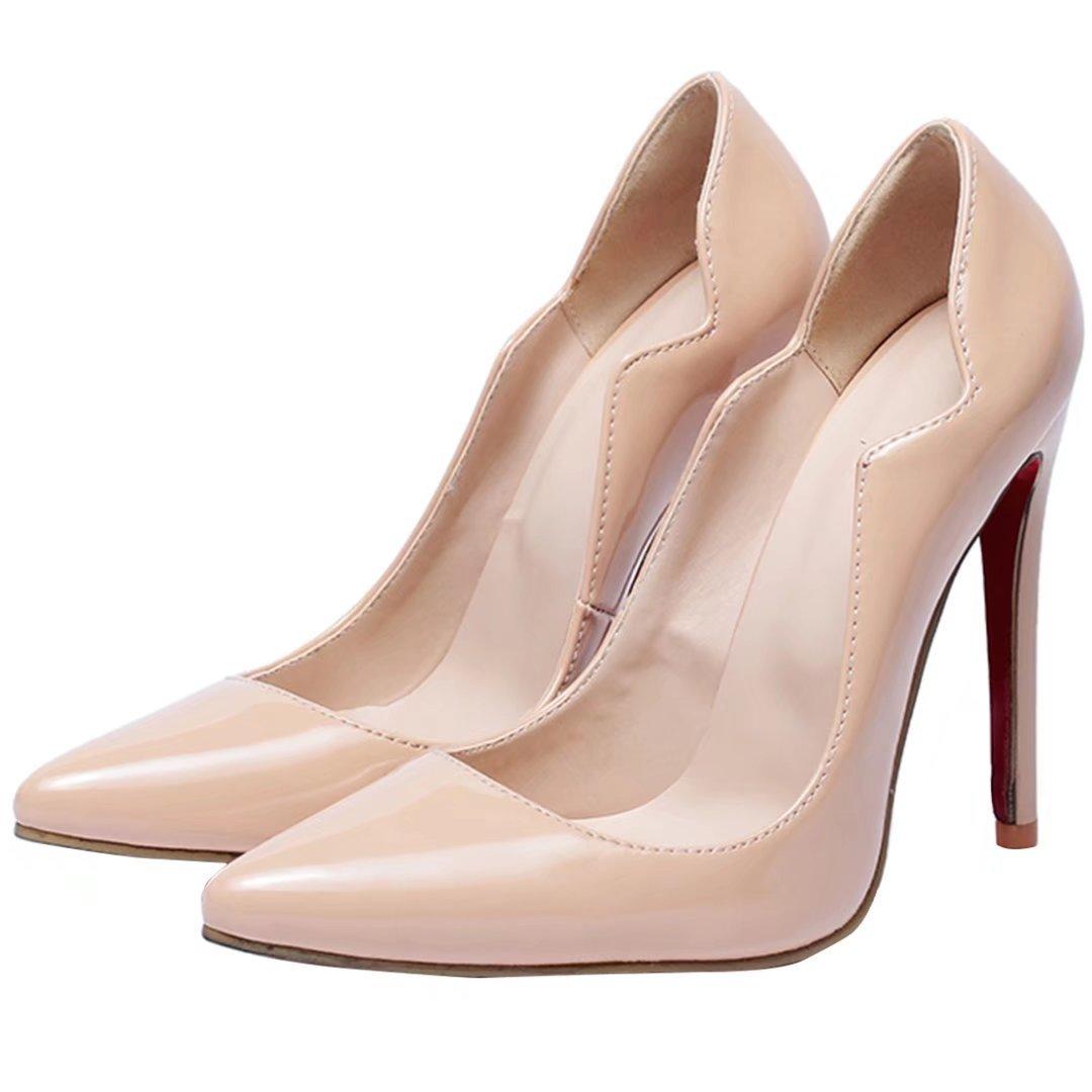 5ebda84f649e8 AIYOUMEI Damen Lack Spitz Extrem High Heels Pumps mit 12cm Absatz ...