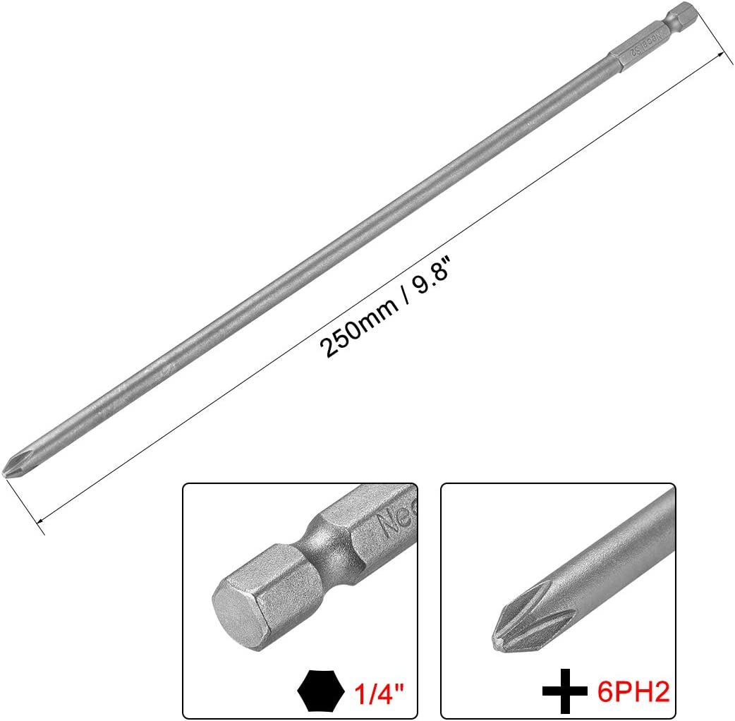 uxcell 1//4-Inch Hex Shank 250mm Length Phillips Cross 6PH2 Magnetic Screw Driver S2 Screwdriver Bits
