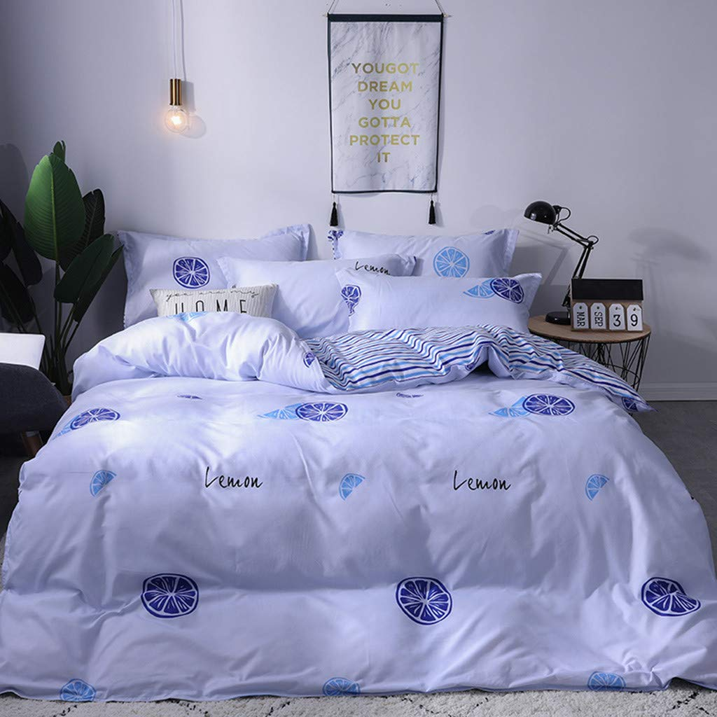 Beyonds Pure Soft 3 Piece Bed Set Blue Deep Pockets Bedding Set Includes x1 Duvet Cover x2 Pillowcases - Soft Polyester Fabric- Home School Bed Decor