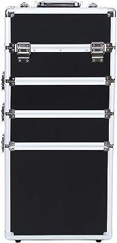 Ridgeyard 5 en 1 universal beauty case trolley Maletín para maquillaje Estuche de maquillaje Neceser de viaje- Negro con Silve Edge: Amazon.es: Equipaje
