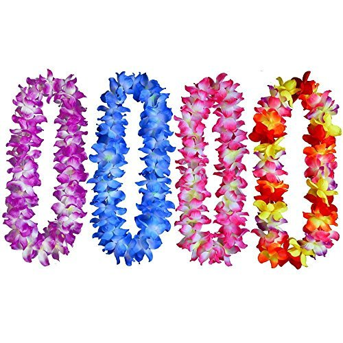 Yansanido 41'' Pack of 4 Large Size Fully Hawaiian Ruffled Simulated Silk Flower Leis Necklace for Party Favor and hula-hula Hawaiian Dance