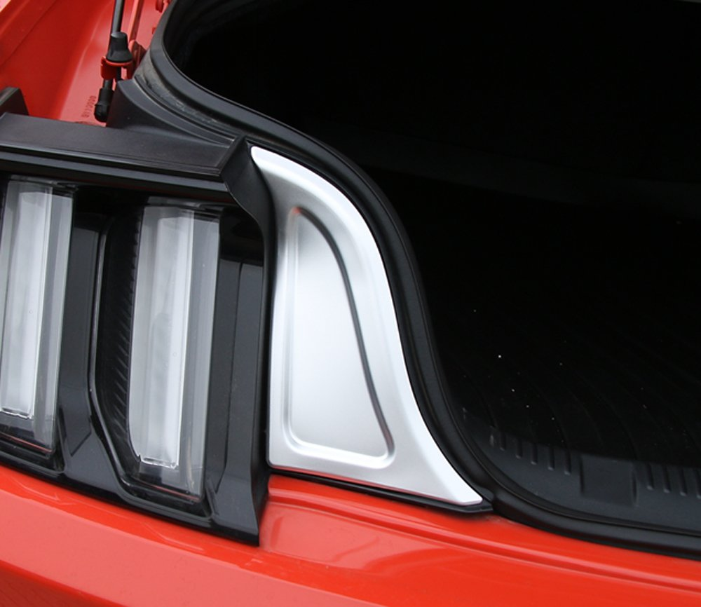 KUJOOY Pair Aluminum Car Trunk Decorative Frame Trim Sticker for Ford Mustang Silver