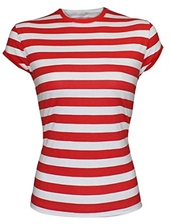 21fe29d76ec37 RIDDLED WITH STYLE GIRLS LADIES RED AND WHITE STRIPED TSHIRT TOP HAT NERD  GLASSES FANCY DRESS  Amazon.co.uk  Clothing