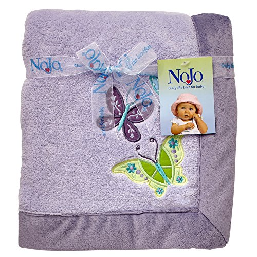 (NoJo Beautiful Butterfly Super Soft Appliqued Baby Blanket,)