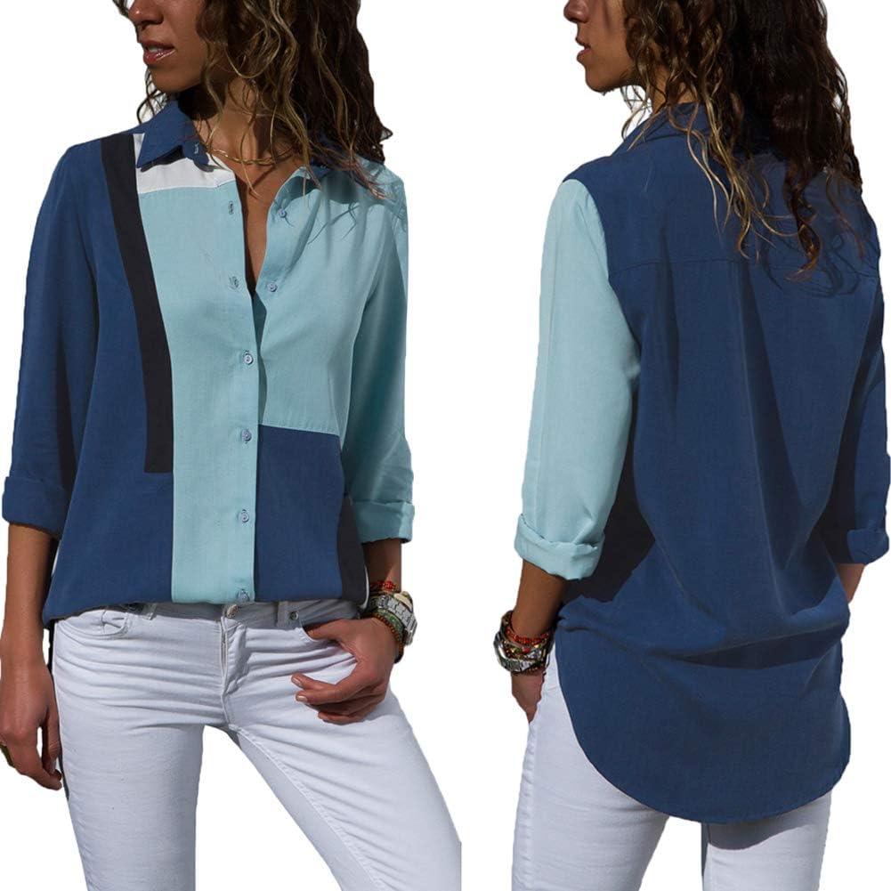 Aleumdr Camicie da Donna Collo a V Bluse Manica Lunga Botton Down Taglia S-2XL