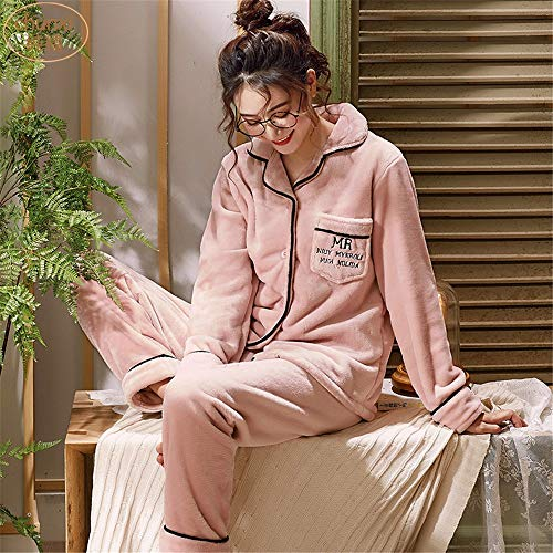 L E Domicilio Invierno Pijamas Vellón Xl Y Cálido Servicio Larga A Baijuxing Coral Pantalones Franela De Casual Traje Otoño Manga EUqWF