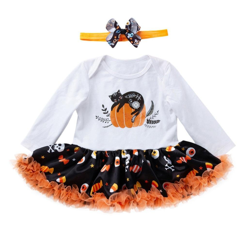 Wesracia Baby Girls Dress,Long Sleeve Halloween Pattern Lace Side Tutu Romper Jumpsuit Dress + Headband,Halloween Outfits (White1-59)
