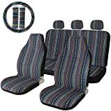 10pc Stripe Colorful Seat Cover Baja Blue Saddle Blanket Weave Universal Bucket Seat Cover with Steering Wheel Cover Front & Rear