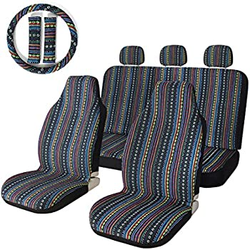 10pc Stripe Colorful Seat Cover Baja Blue Saddle Blanket Weave Universal Bucket With Steering