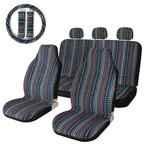(10pc Stripe Colorful Seat Cover Baja Blue Saddle Blanket Weave Universal Bucket Seat Cover with Steering Wheel Cover Front & Rear )