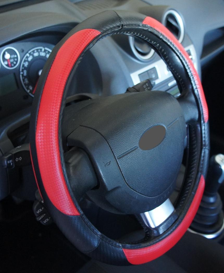 Excelente calidad, universal Volante Negro Rojo para Coche Anti tobogán diámetro 37 - 39 cm + 1 Adhesivo de PC