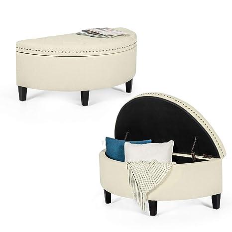 Super Amazon Com Tufted Storage Ottoman Bench Half Moon Fabric Theyellowbook Wood Chair Design Ideas Theyellowbookinfo