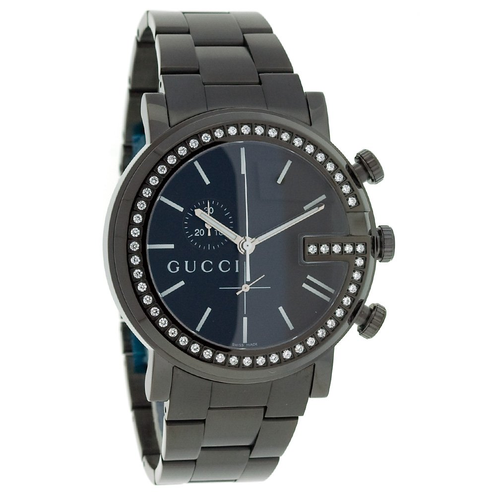 5011ab88532 Gucci Men s YA101340 G-Chrono Black PVD with Diamond Accents Watch   Amazon.co.uk  Watches