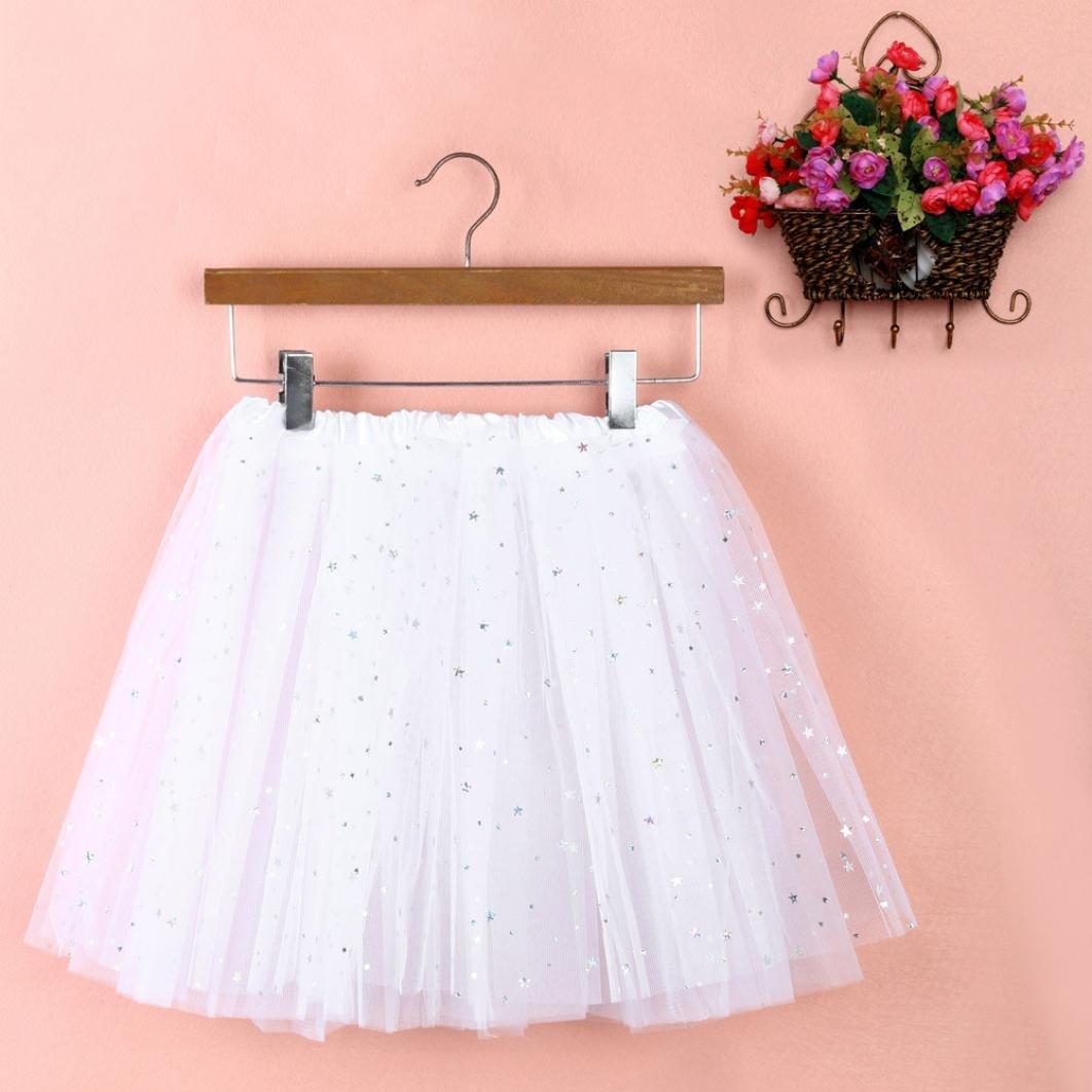 Sinwo Womens Girl Cute Pleated Gauze Short Skirt Adult Tutu Dancing Skirt Basic Skirt (White)