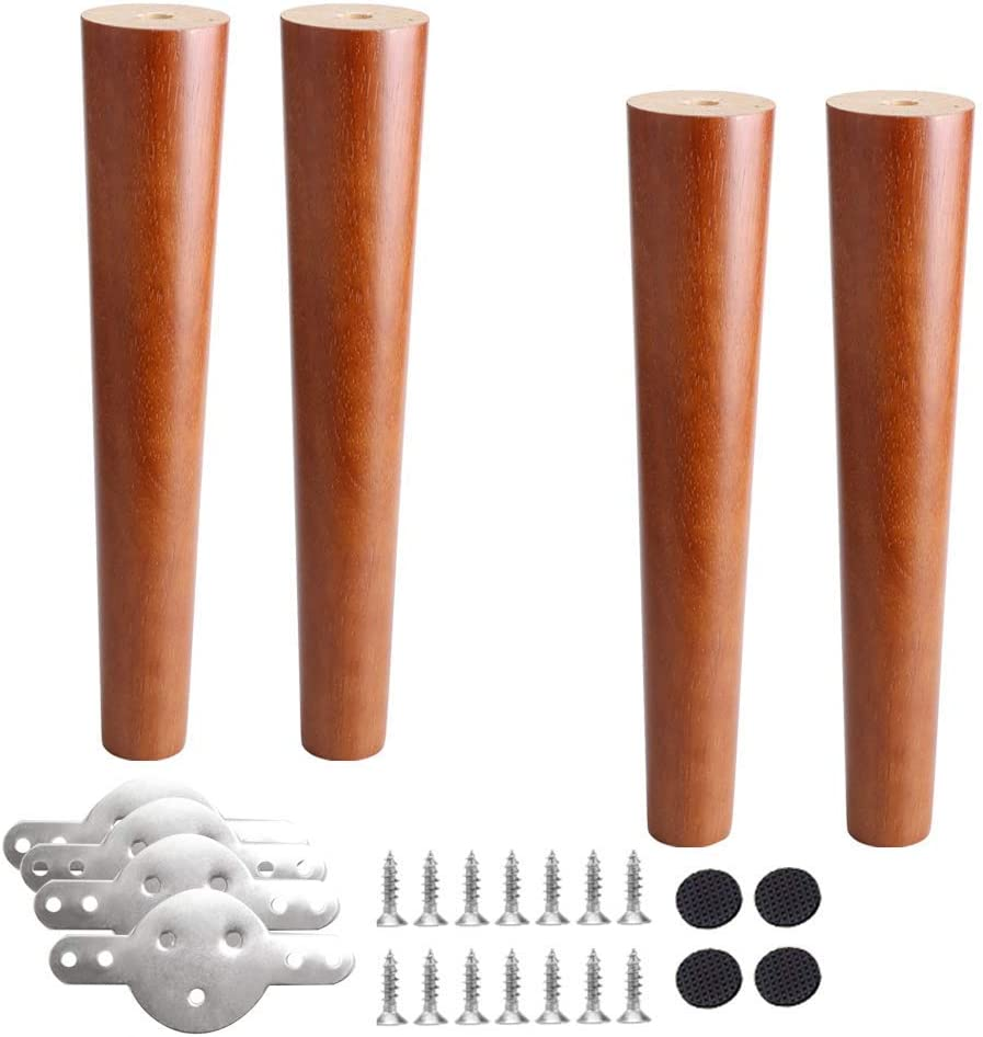 YVX 4pcs Wooden Furniture Legs,Walnut Color Table Legs,Cabinets Feet,Sofa Feets,Oak Furniture Feet,Replacement Legs,with Mounting Plate and Screws,for Sofas Stools DIY Desk Bench(25cm/9.8in)