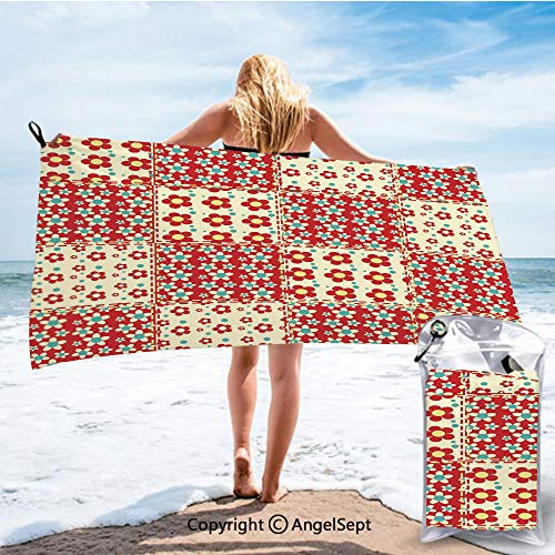 SCOCICI Ultra Fast Dry Travel and Sports Towels,Traditional Quilt Pattern with Spring Garden Flowers Daisies Light Yellow Turquoise Red,27.5