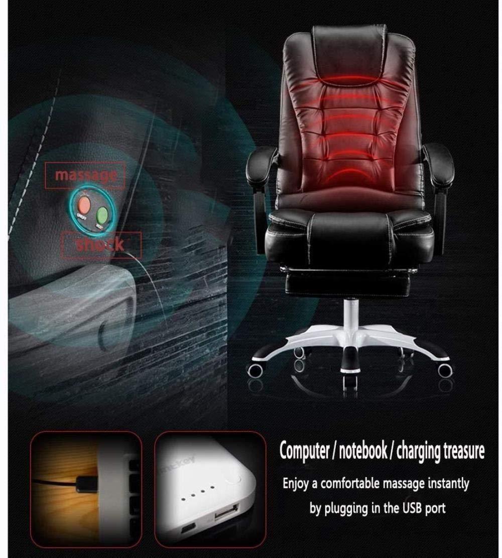 Xiuyun Kontor Gaming Chiar Executive Swivel stol PU datorstol med 72 cm hög rygg midja massage ergonomiskt hem (färg: Beige) Svart