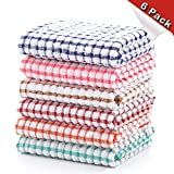 YNERHAI Kitchen Dish Towels, 100% Cottton Kitchen Towels, Dish Towels 16 Inch x 25 Inch (for Kitchen Décor, Super Absorbent, Multi Color), 6 Pack of Dish Towels