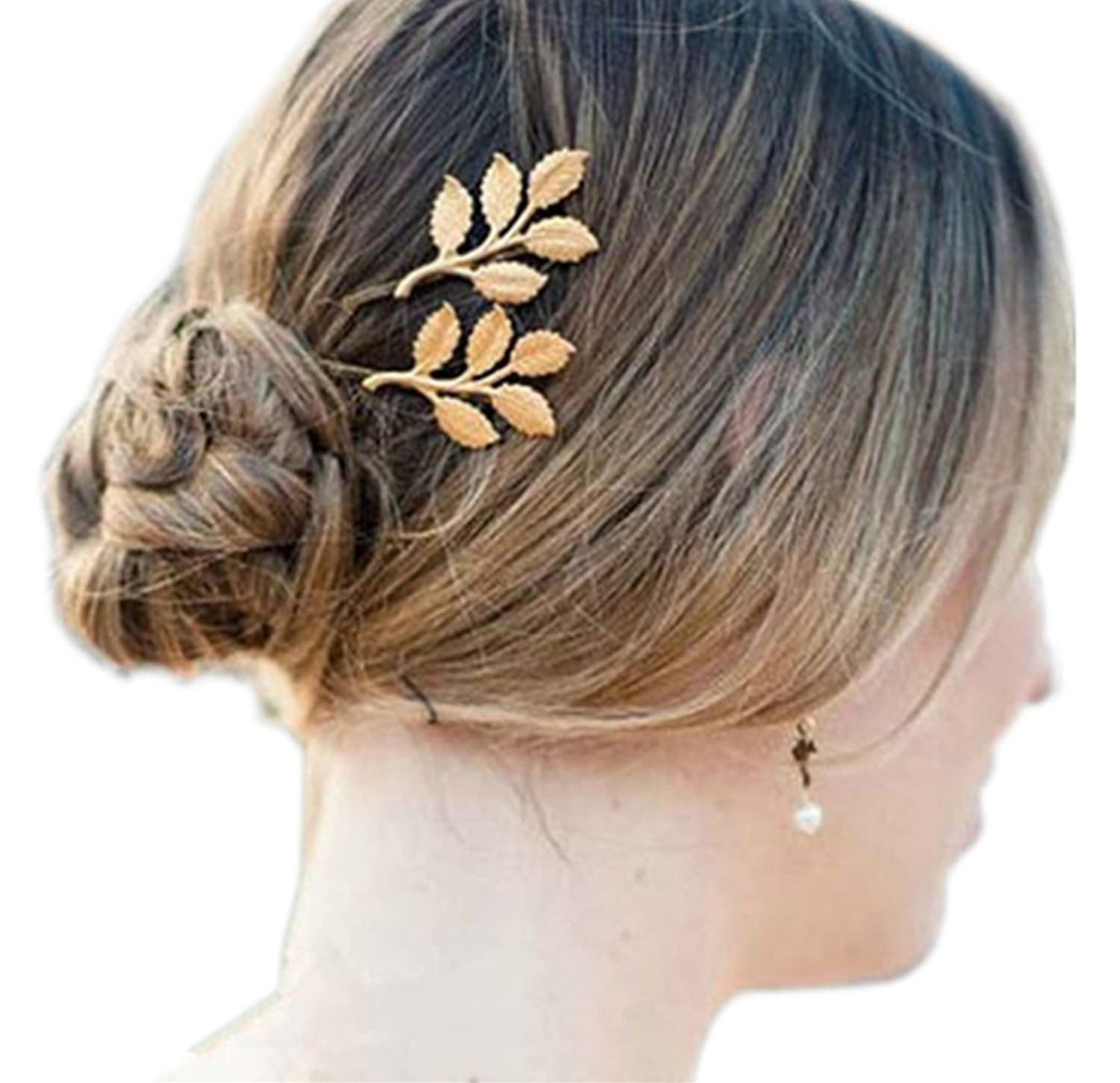 Deepon Antique Style Accessories Olive Leaves Leaf Barrette Alloy Hairpin  Hair Cip Nature Bridal 2 Pcs 4a1909b16417