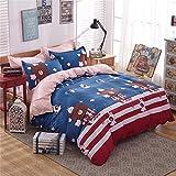 Zhiyuan Bear and Snowflake Duvet Cover Flat Sheet Pillowcases Set,Queen