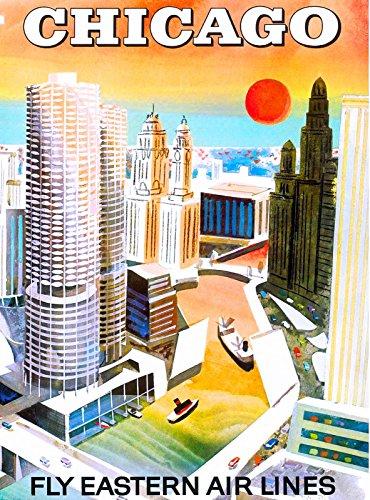 (MAGNET Chicago Illinois Vintage United States America Travel Advertisement Art Magnet)