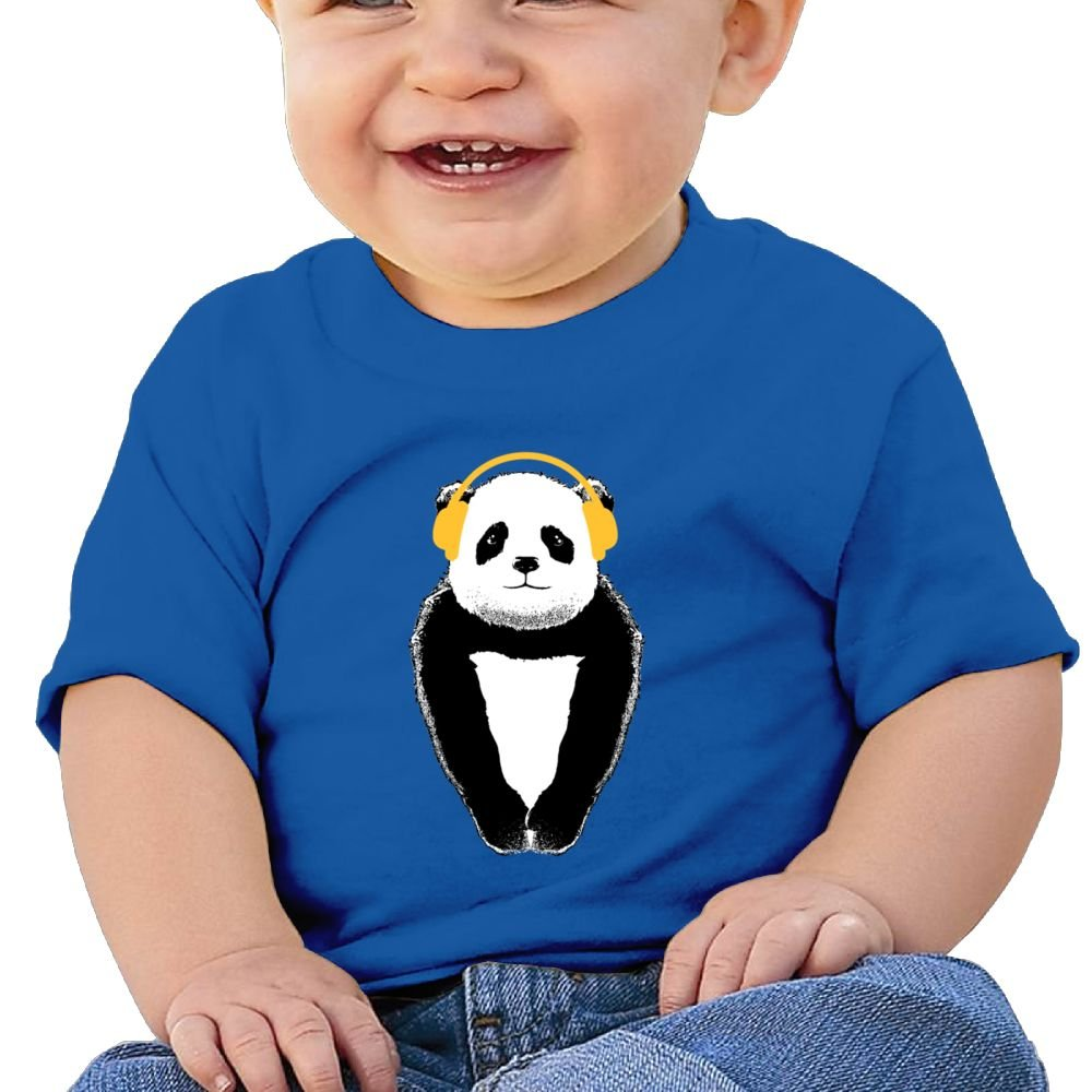 Arsmt Short Sleeve Panda Listening Song Sleeve Short T-Shirt Baby Boys