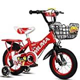 JAD@ Children's Bicycle 2-4-6 Years Old 6-7-8-9 Years Old Kid's Bike Baby Carriage Boy Girl Bicycle with Flash Training Wheel Bicycle (Color : Red, Size : 18'')