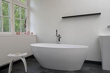 Freistehende Badewanne Mineralguss - oval weiß - inkl. Ablaufventil ...